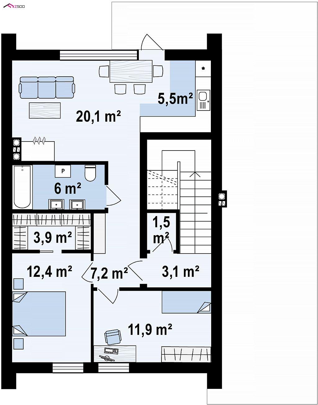 Второй этаж 70,4 м² дома Z424