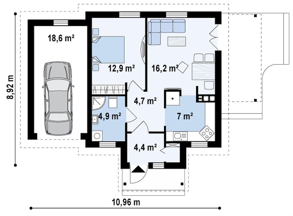 Первый этаж 50,6 / 68,7 м² дома Z73 L GL