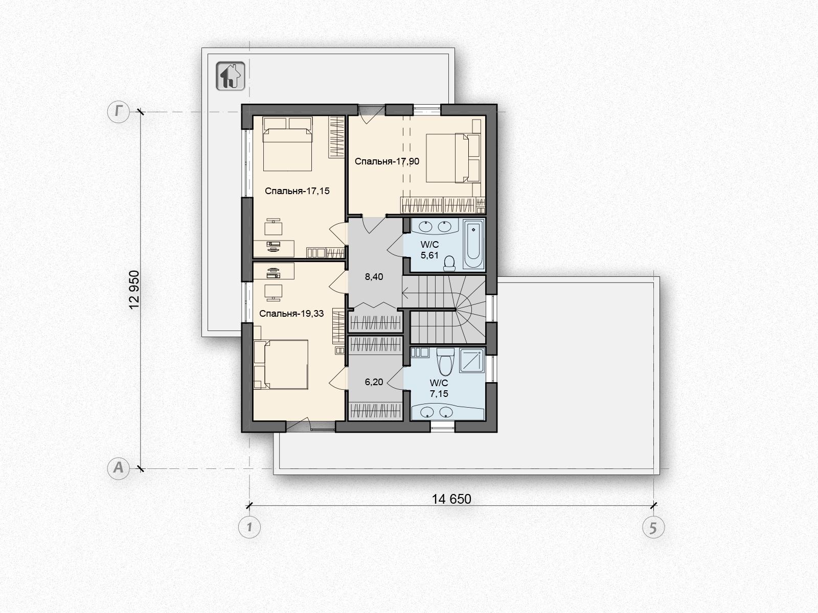 Общая площадь по 2 этажу 81,74 дома B-1