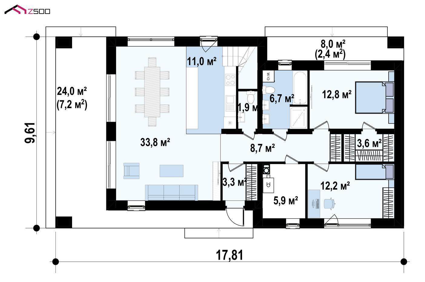 1-ЫЙ ЭТАЖ 99,9 / 109,5 m² дома Z465
