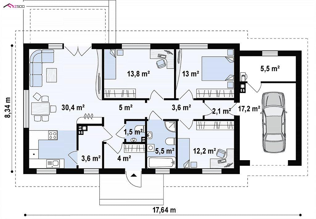 Первый этаж 92,7 / 115,3 м² дома Z241 GP HB