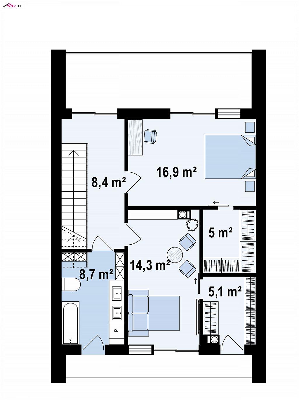 Второй этаж 58,4 / 56,4 м² дома Z442
