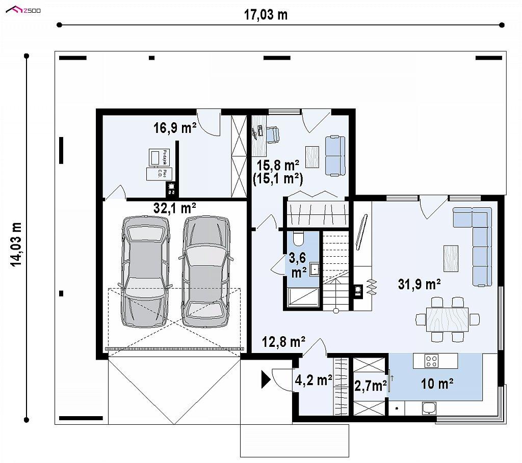 Первый этаж 81,3 / 131,0 м² дома Zx156