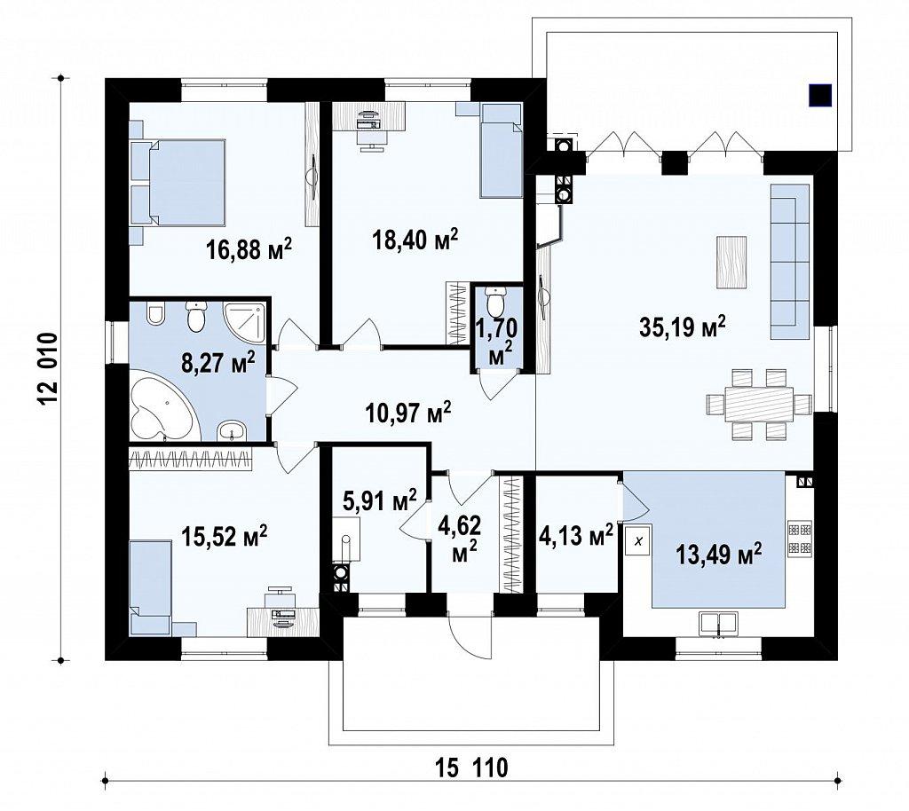 Первый этаж 86,0 / 140,4 м² дома Zz10