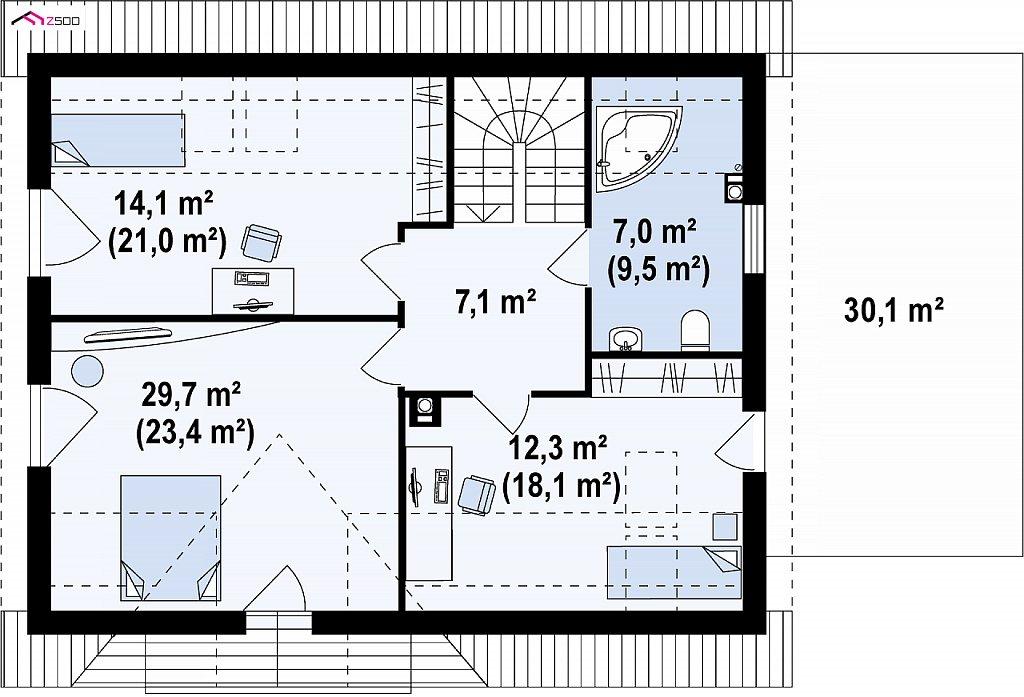 Второй этаж 92,9 / 111,8 м² дома Z128GP