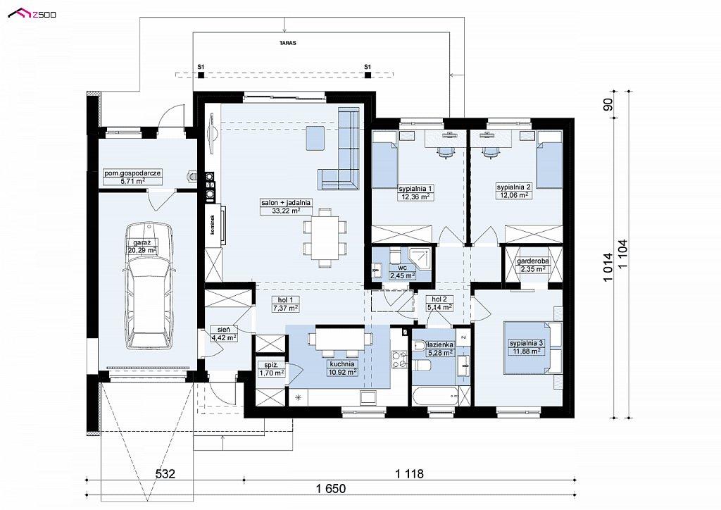 Первый этаж 114,8 / 135,1 м² дома Z182GL P HB
