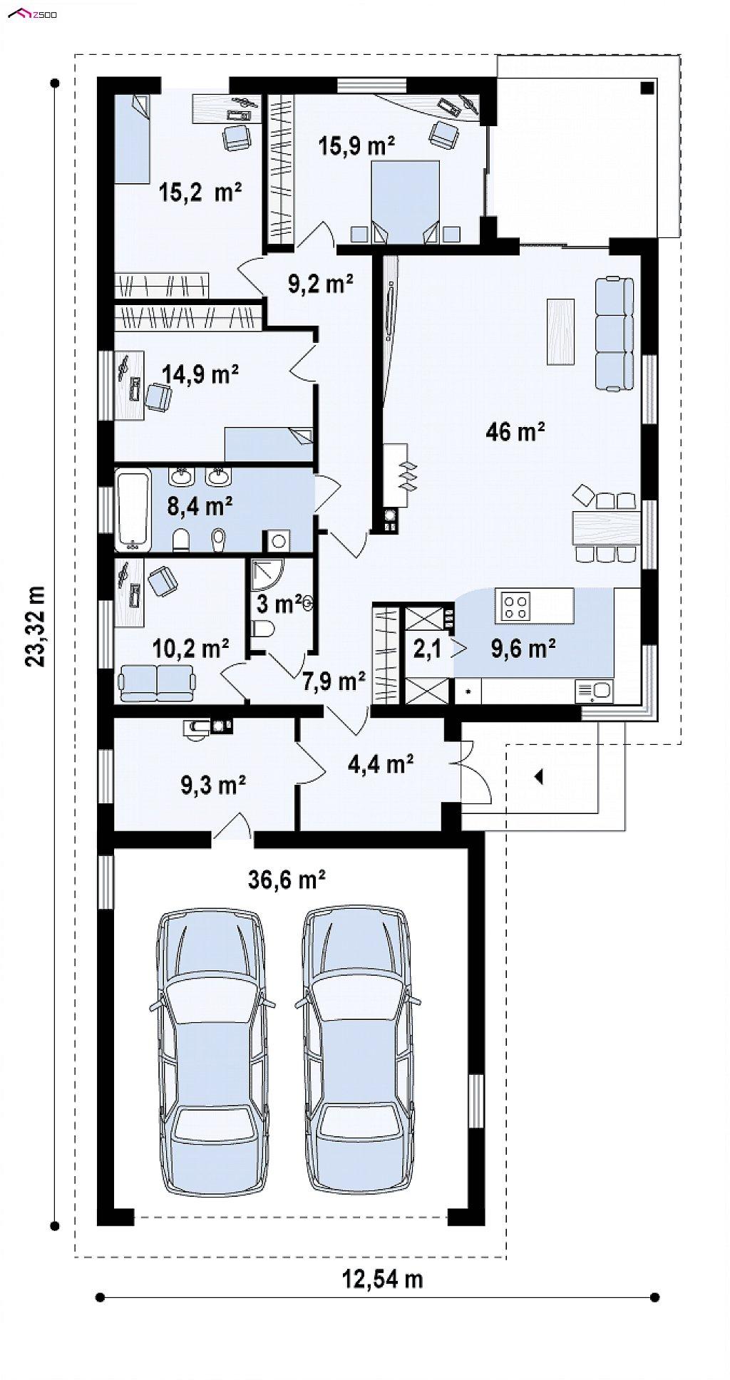 Первый этаж 156,1 / 192,7 м² дома Z195 GF2 HB