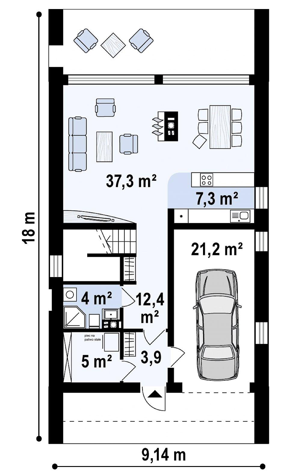 Первый этаж 90,0 / 90,1 м² дома Z215 A
