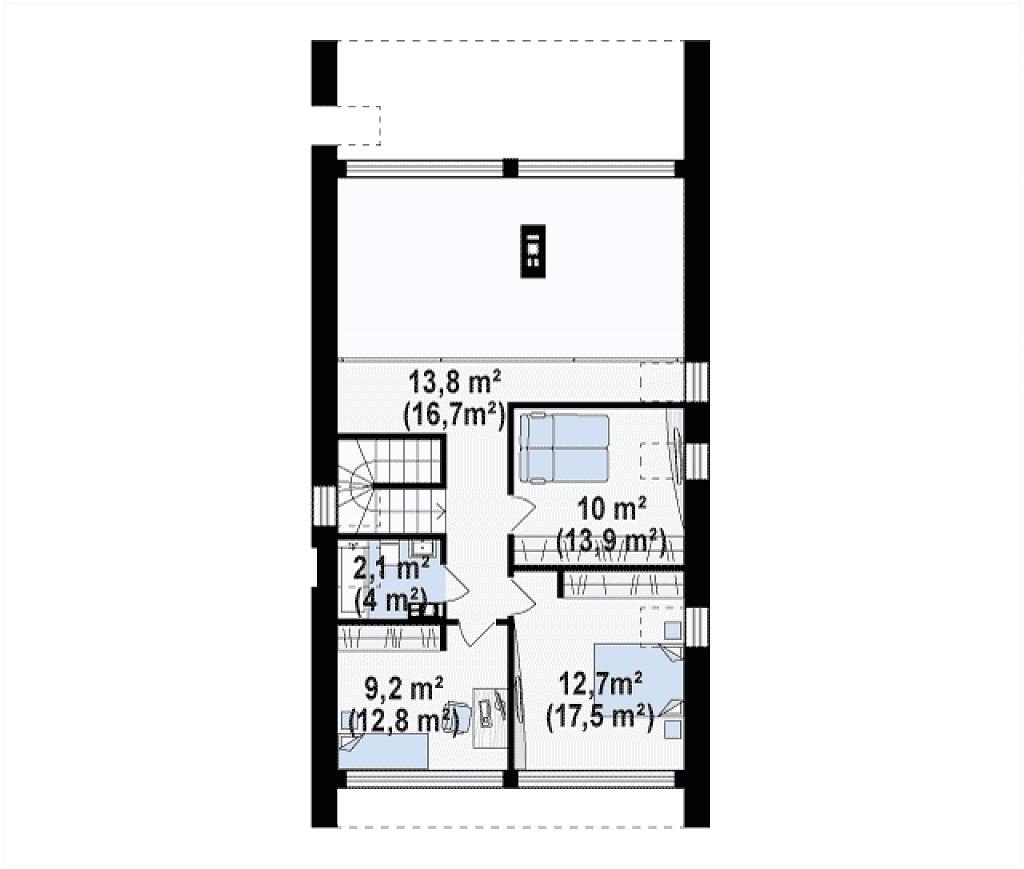 Второй этаж 46,8 / 64,0 м² дома Z215 A