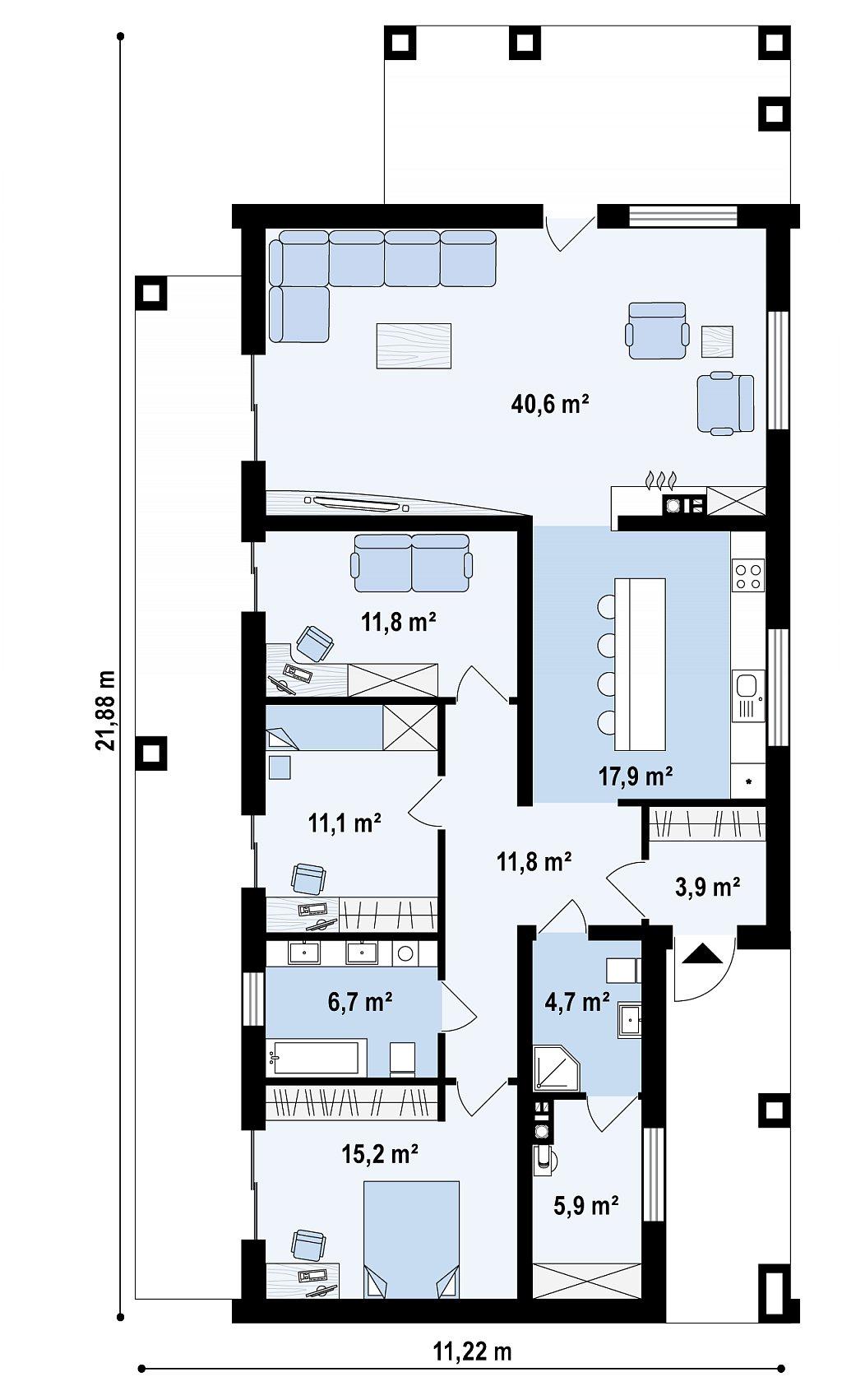 Первый этаж 129,5 м² дома Z314 BG