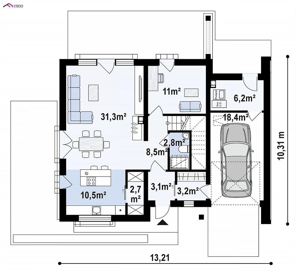 Первый этаж 79,3 / 97,6 м² дома Z391
