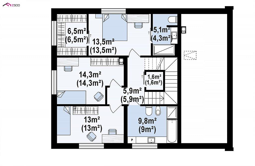 Второй этаж 67,1 / 68,7 м² дома Z391