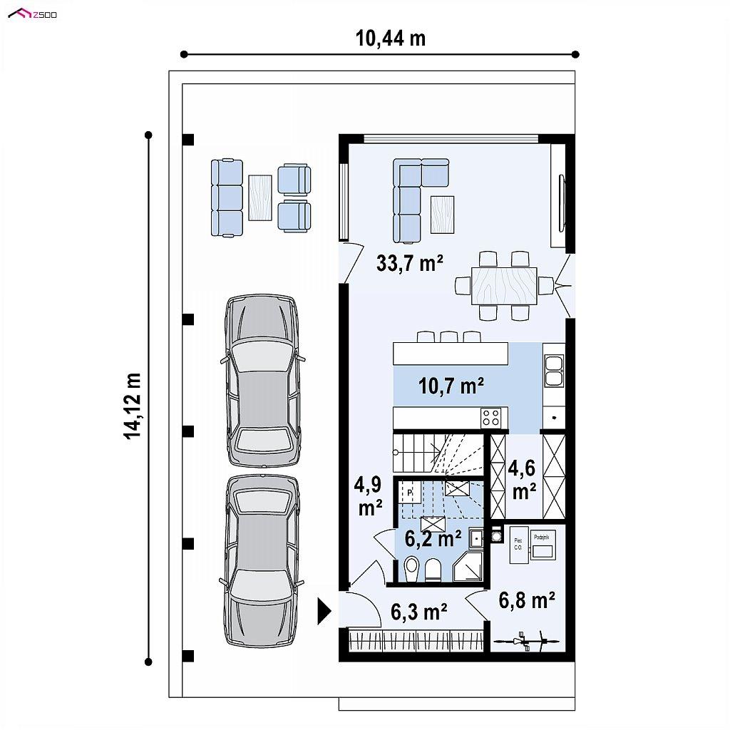 Первый этаж 73,1 м² дома Z445D