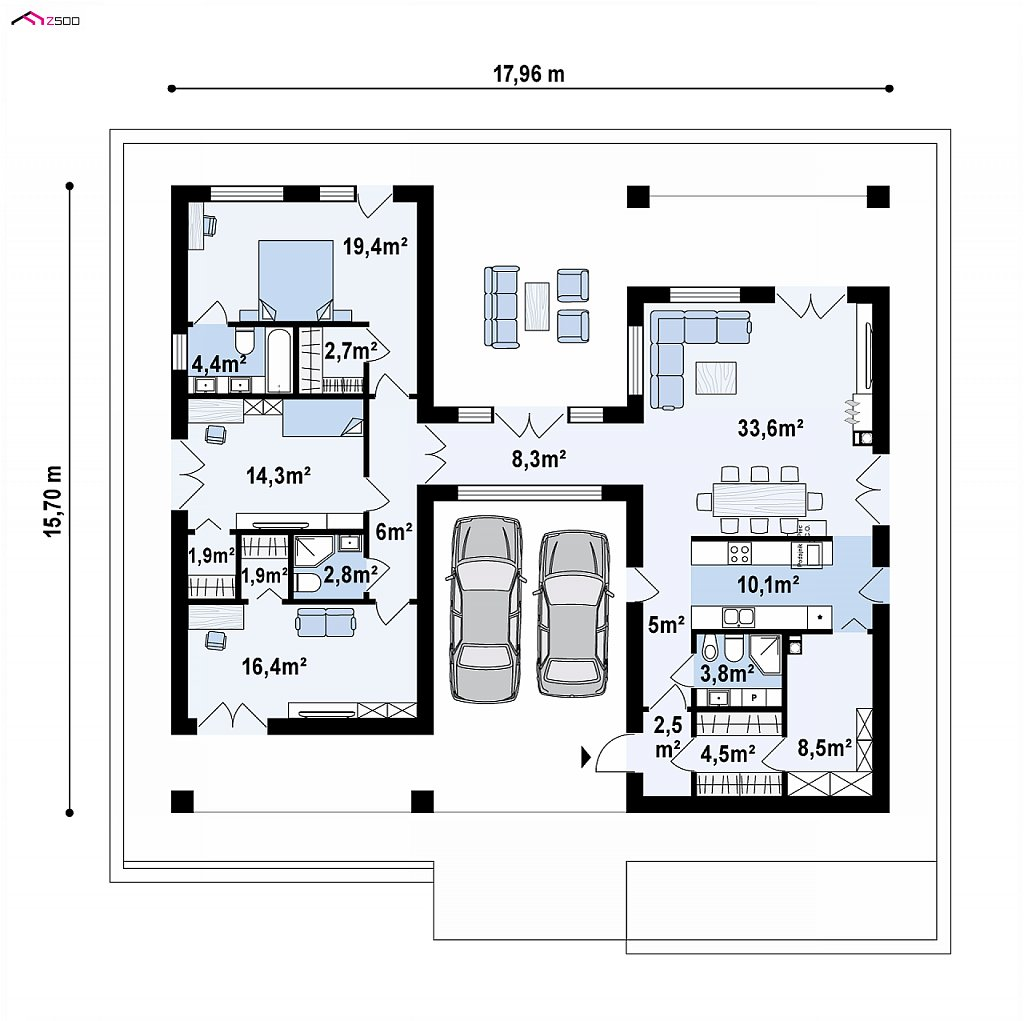 Первый этаж 146,1 м² дома Z449