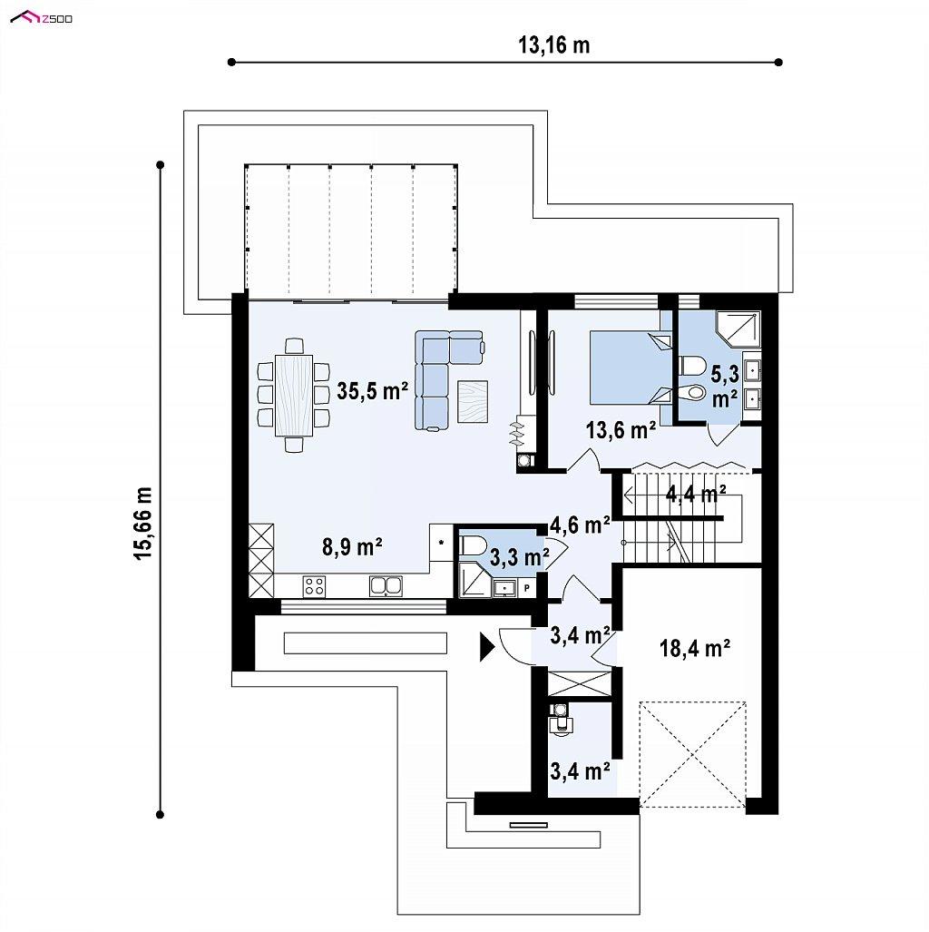 Первый этаж 97,8 / 116,3 м² дома Z450
