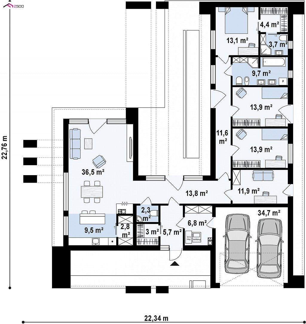 Первый этаж 162,6 / 197,2 м² дома Zx158