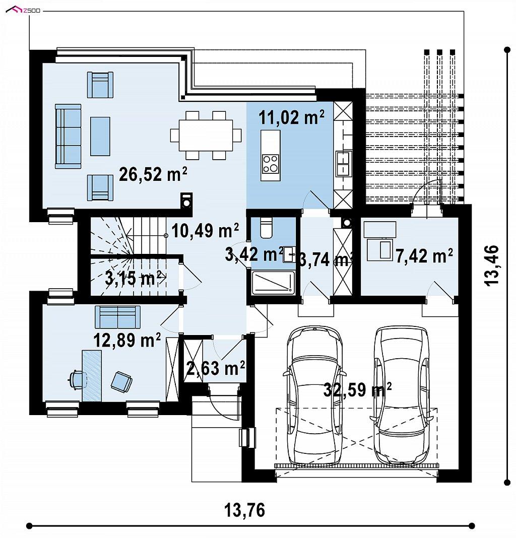 Первый этаж 112,9 м² дома Zx255