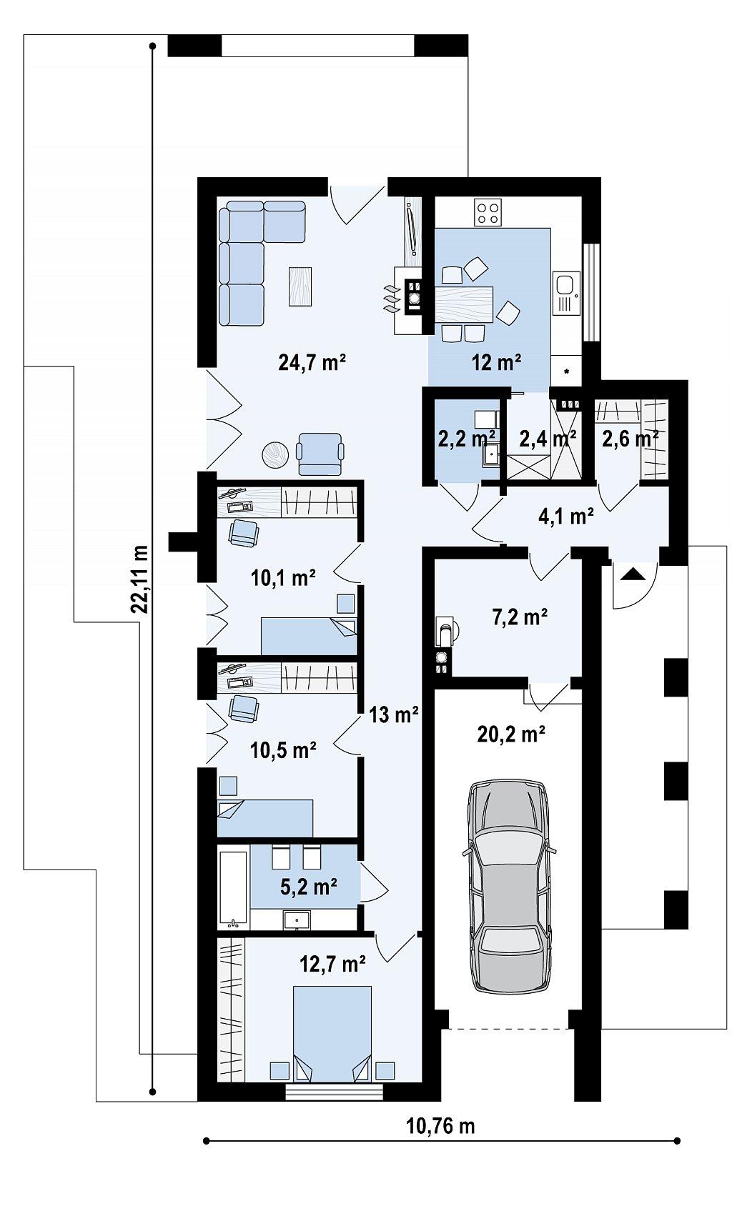 Первый этаж 107,4 / 127,6 м² дома ZX68 A MINUS