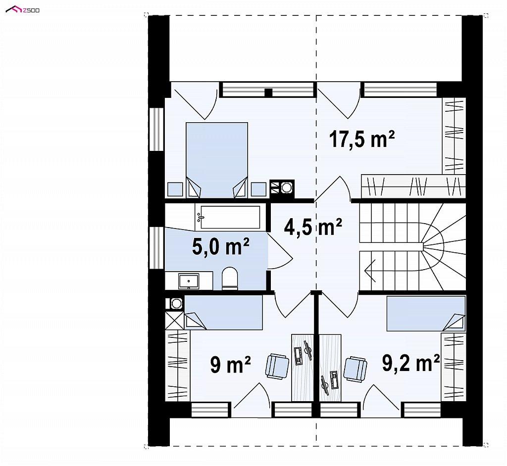 Второй этаж 44,3 м² дома Z396