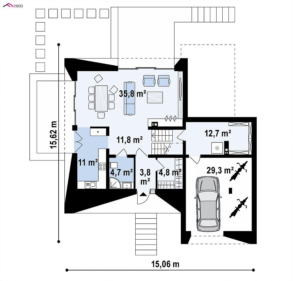 Первый этаж 84,6 / 113,9 м² дома Zx145