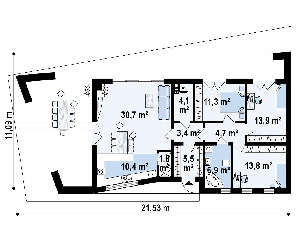 Первый этаж 105,6 / 105,6 м² дома Zx80
