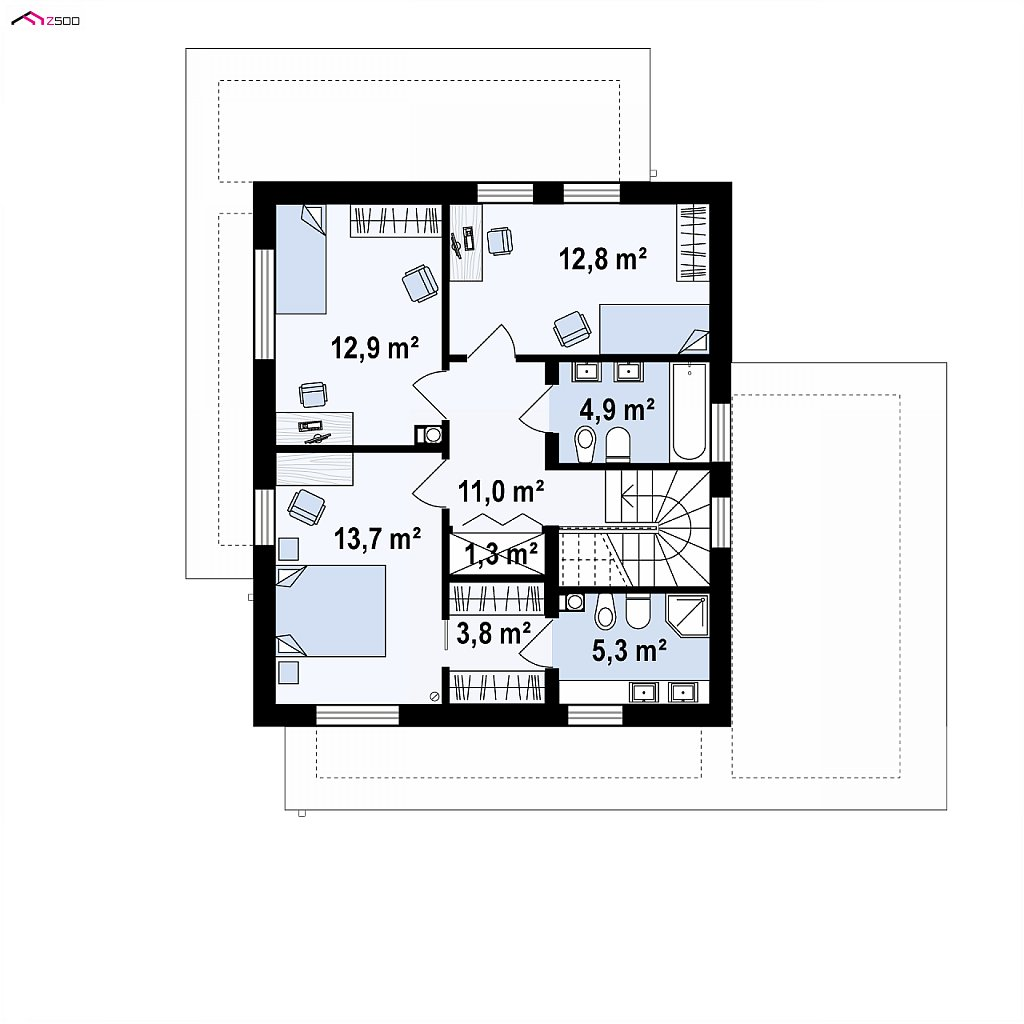 Второй этаж 64,6 м² дома zx92 GP