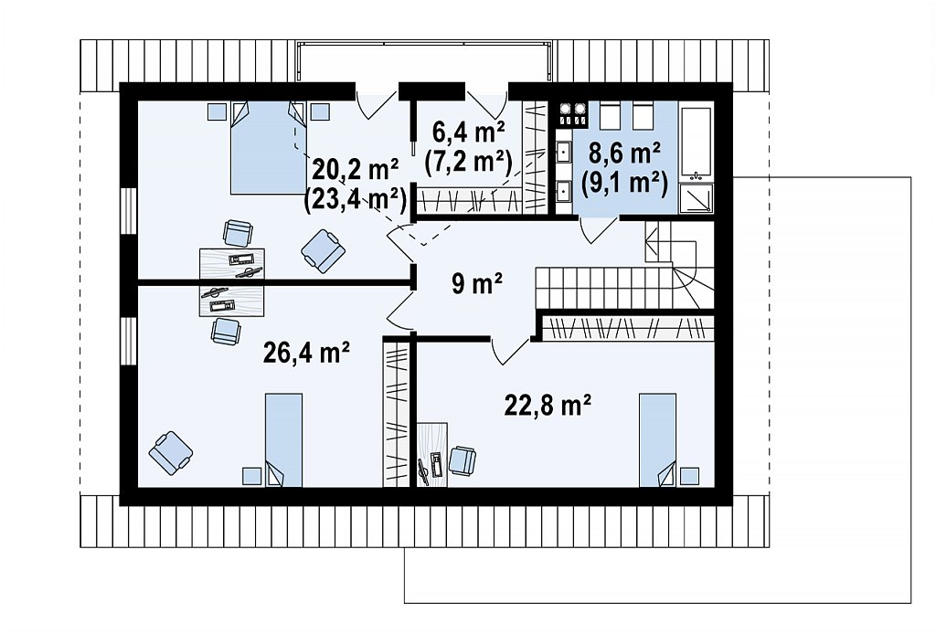 Второй этаж 95,9 / 86,3 м² дома Z160 A GP