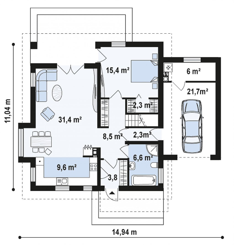 Первый этаж 106,5 м² дома z166 GP