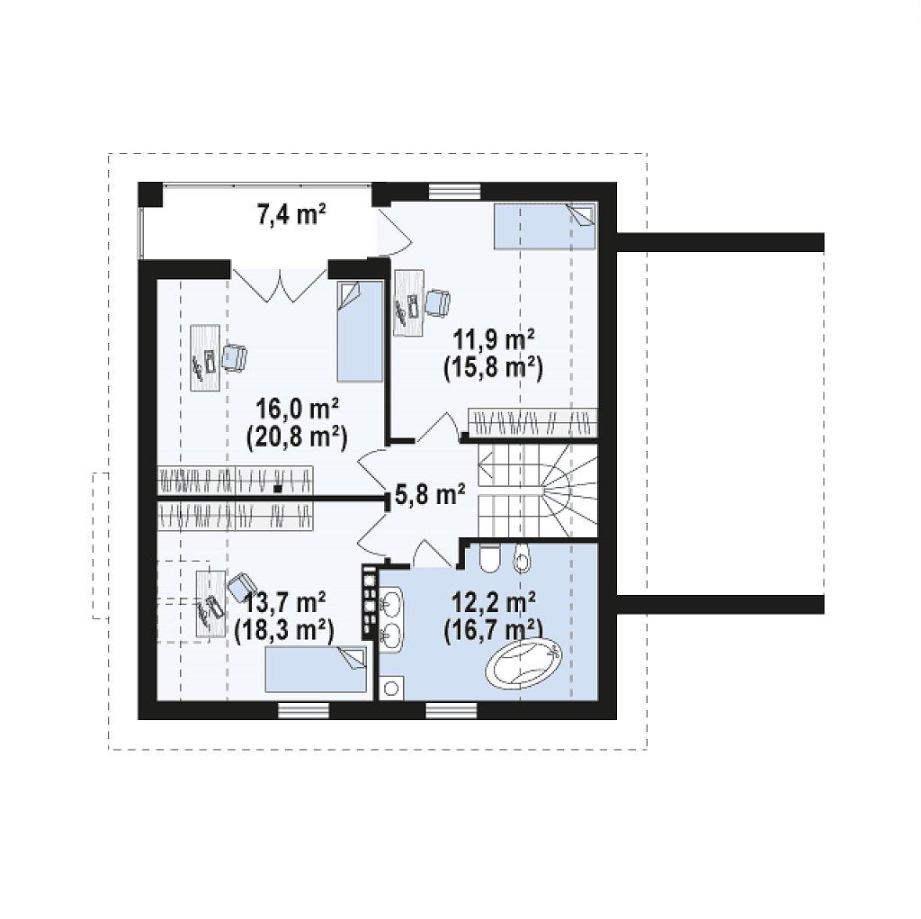 Второй этаж 58,4 / 76,3 м² дома z166 GP