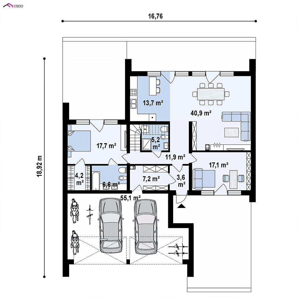 Первый этаж 119,2 / 174,3 м² дома Zx251
