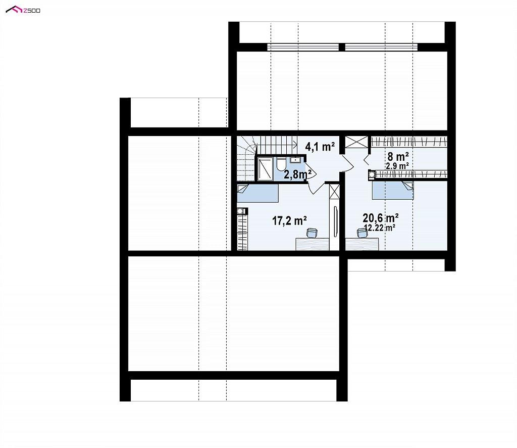 Второй этаж 38,2 / 51,7 м² дома Zx251