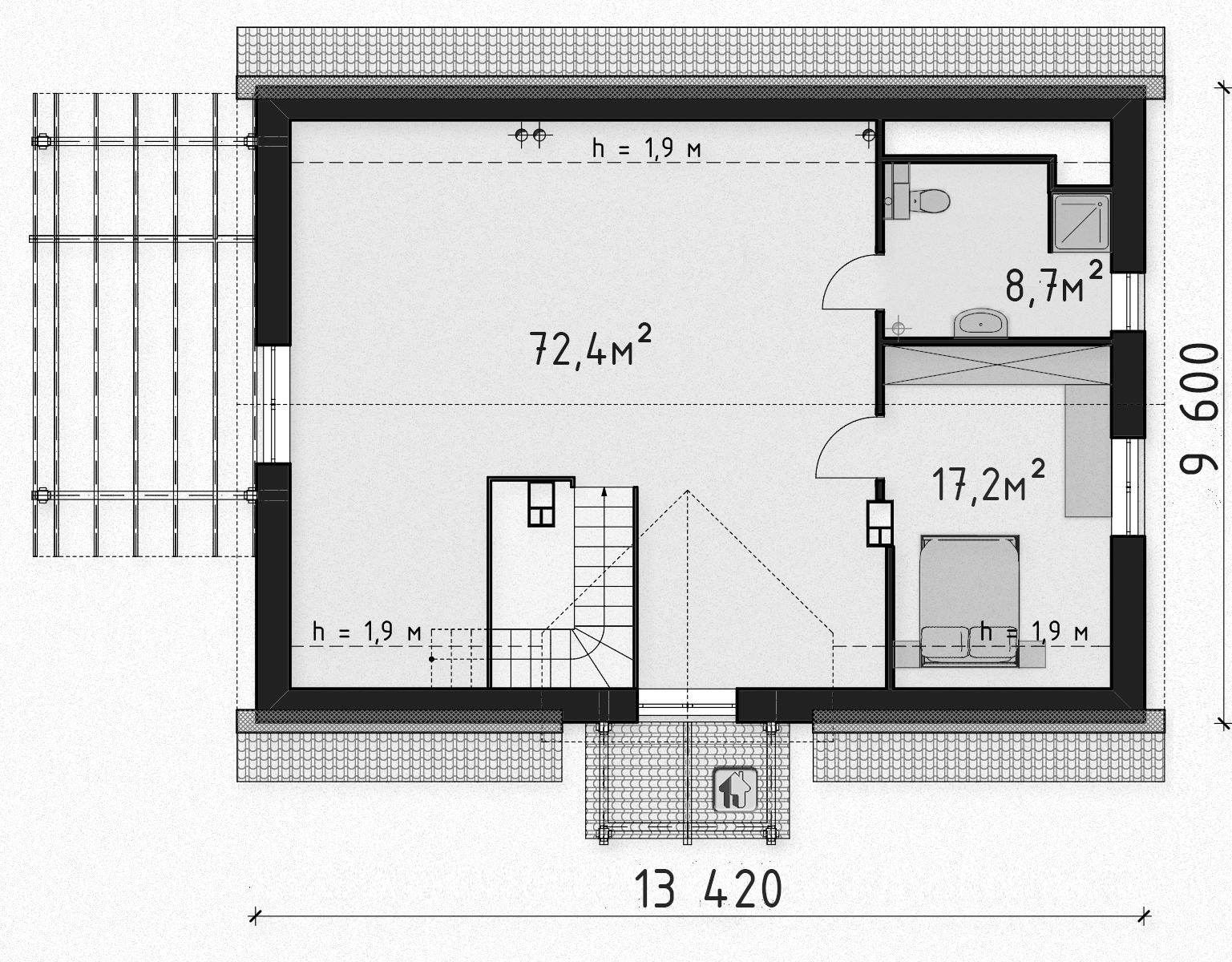 Схема второго этажа  дома ZH10