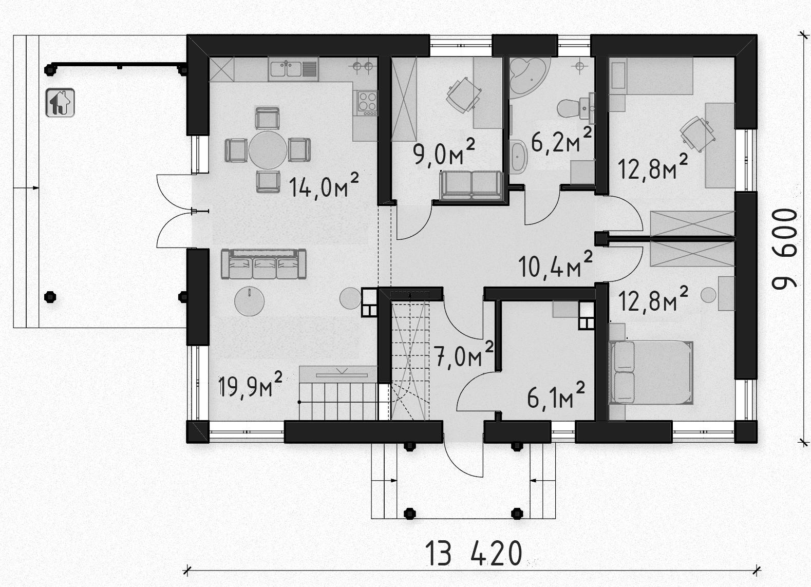 Схема первого этажа дома ZH10