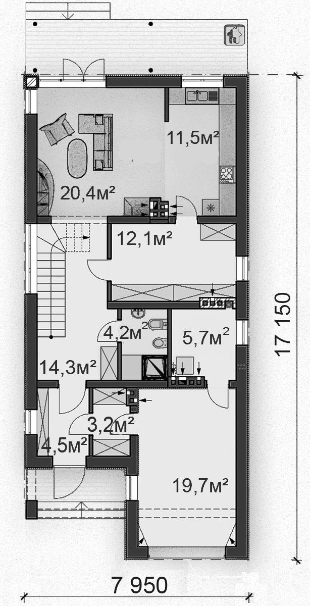 Схема первого этажа  дома ZH12