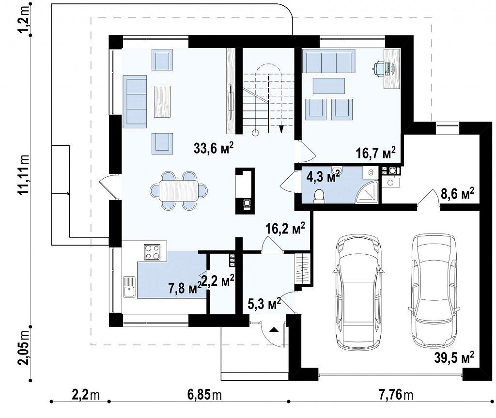 Первый этаж 154,1 м² дома Zx10