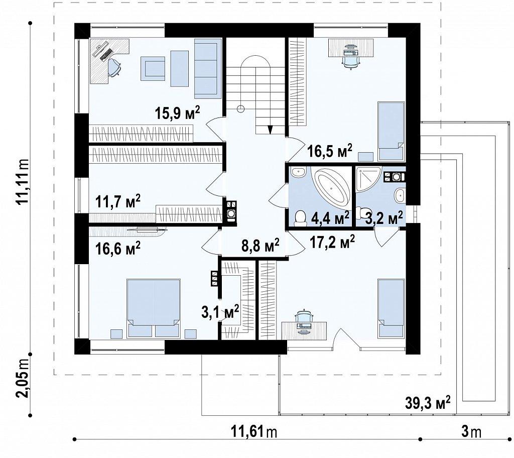 Второй этаж 97,2 м² дома Zx10