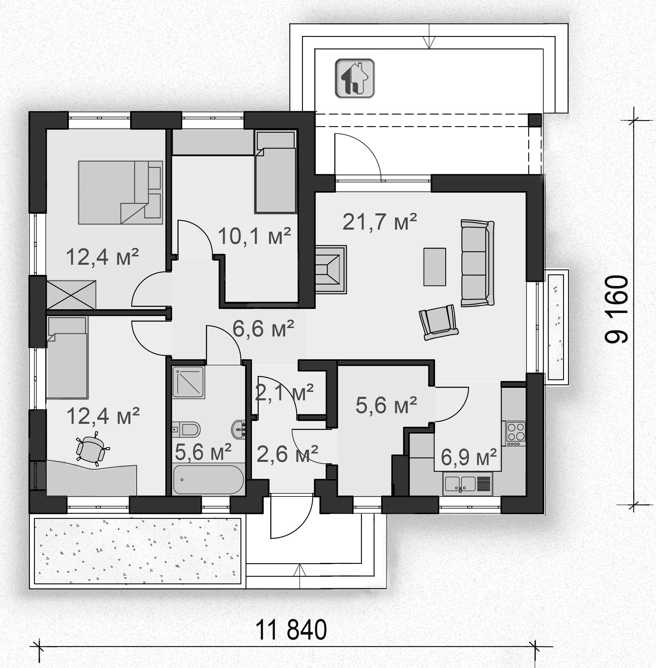 Схема первого этажа дома ZH7