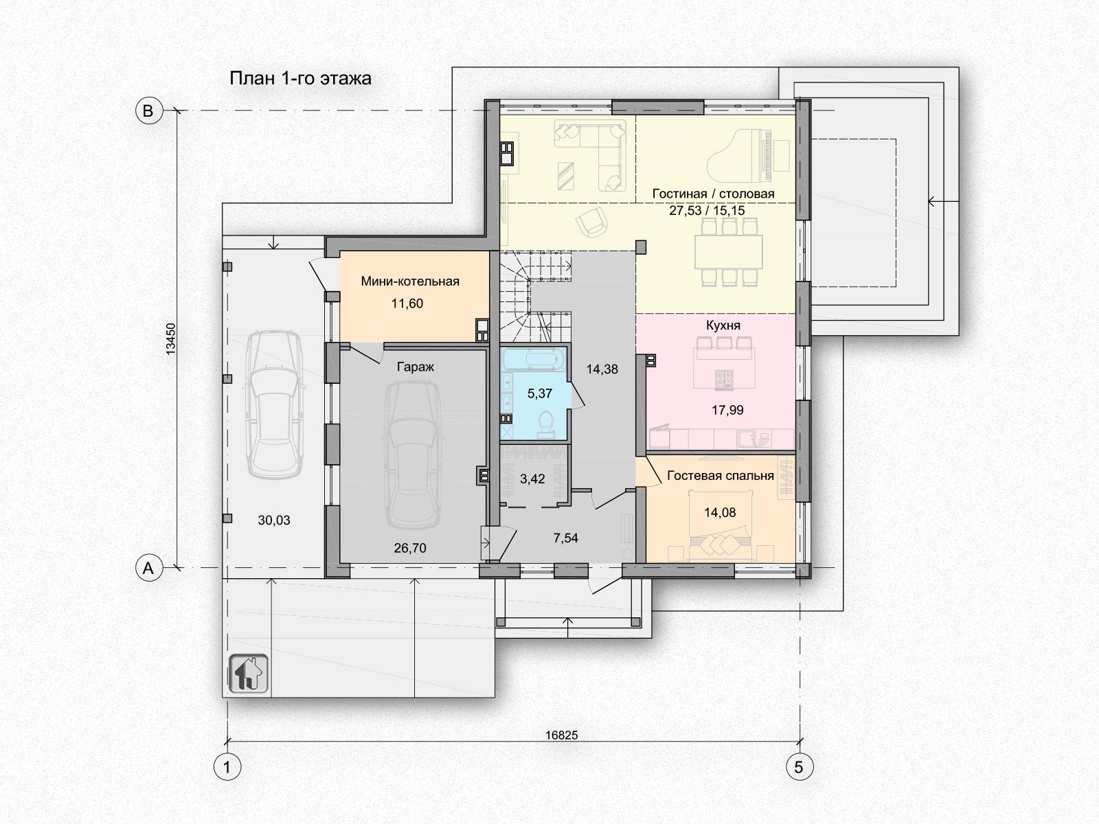 Общая площадь по 1 этажу 138,40 дома H11