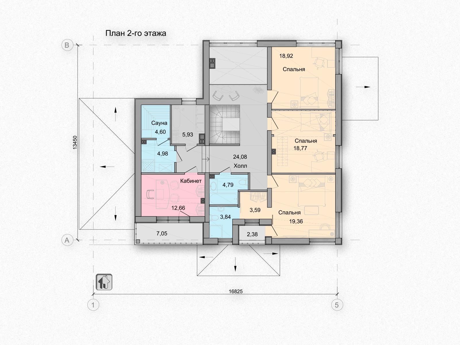 Общая площадь по 2 этажу 124,83 дома H11