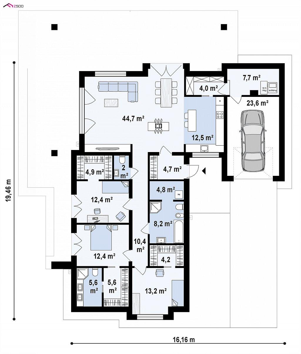 Первый этаж 157,0 / 180,7 м² дома Z279