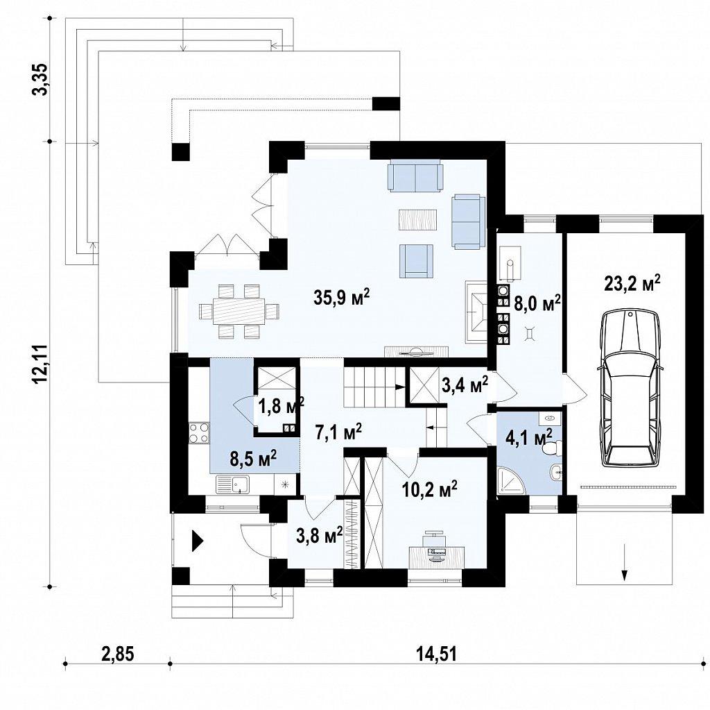 Первый этаж дома Z284