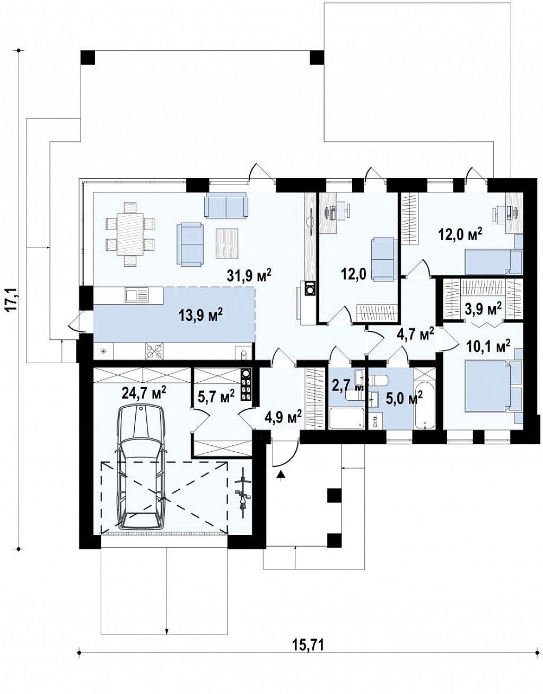 Первый этаж 105,5 / 146,6 м² дома Z384