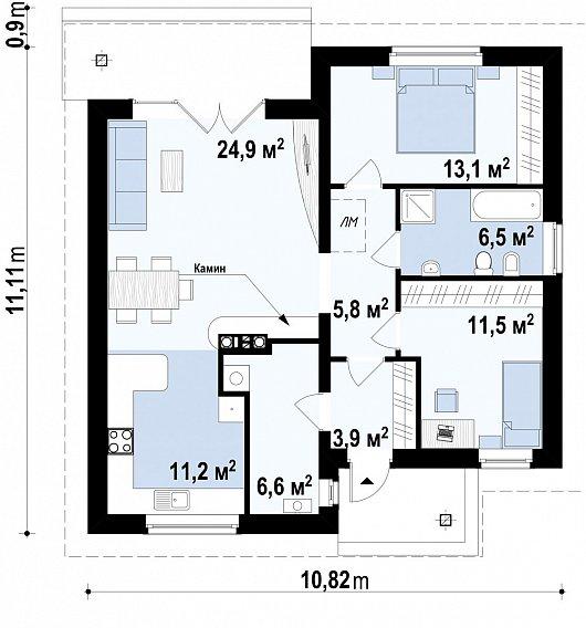 Первый этаж 86,8 дома Z64