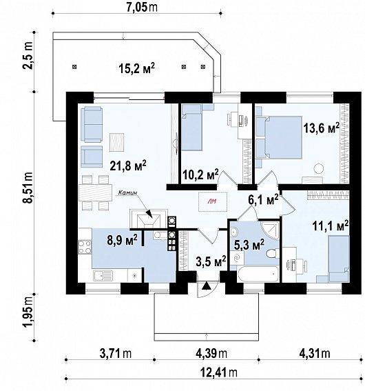 Первый этаж 82,0м² дома Z7