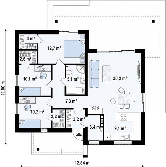 Первый этаж 96,4м² дома Zx105 B