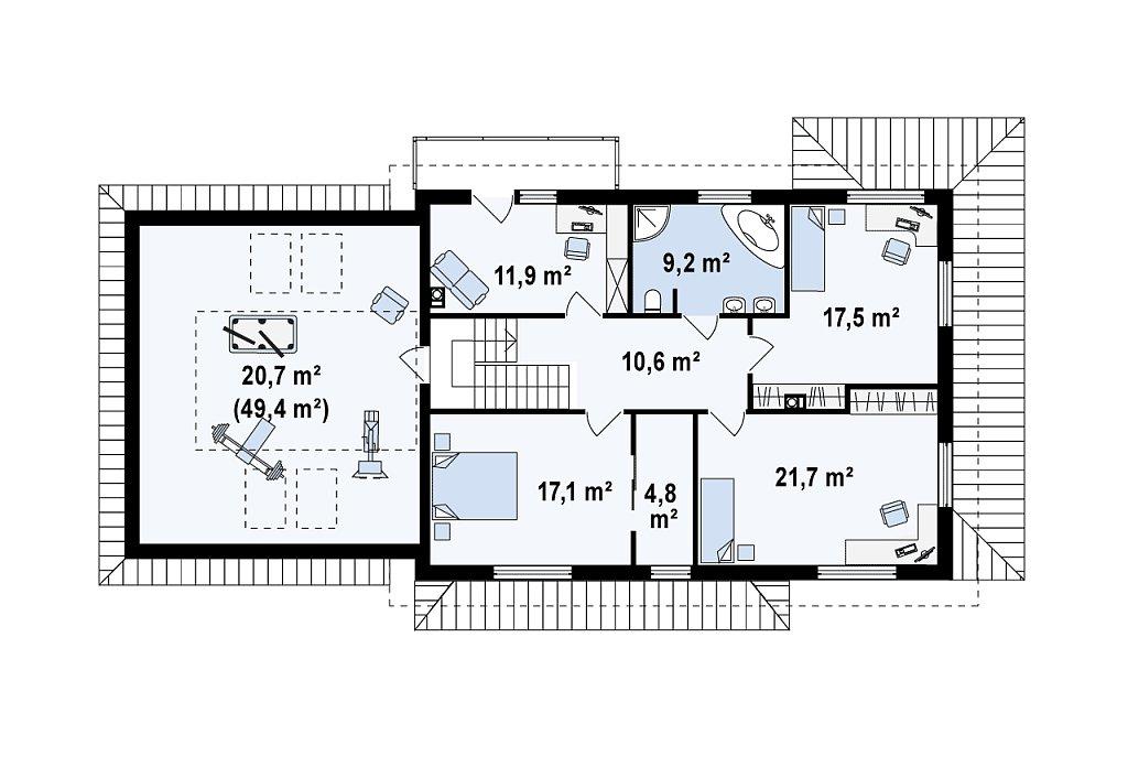 Второй этаж 142,1 м² дома Zx16