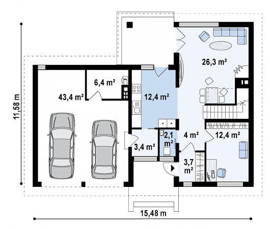 Первый этаж 117,1 м² дома Zx24 GL2