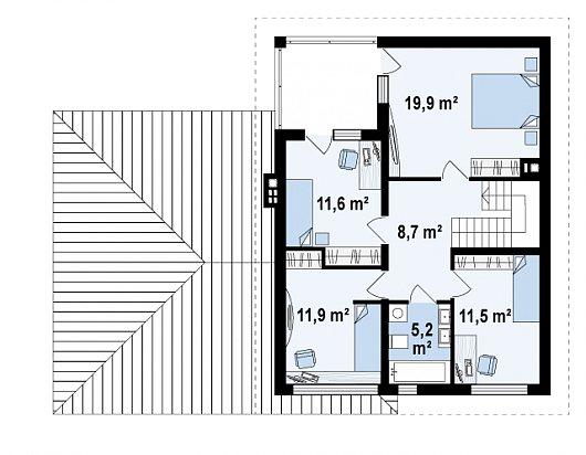 Второй этаж 68,8 м² дома Zx24 GL2