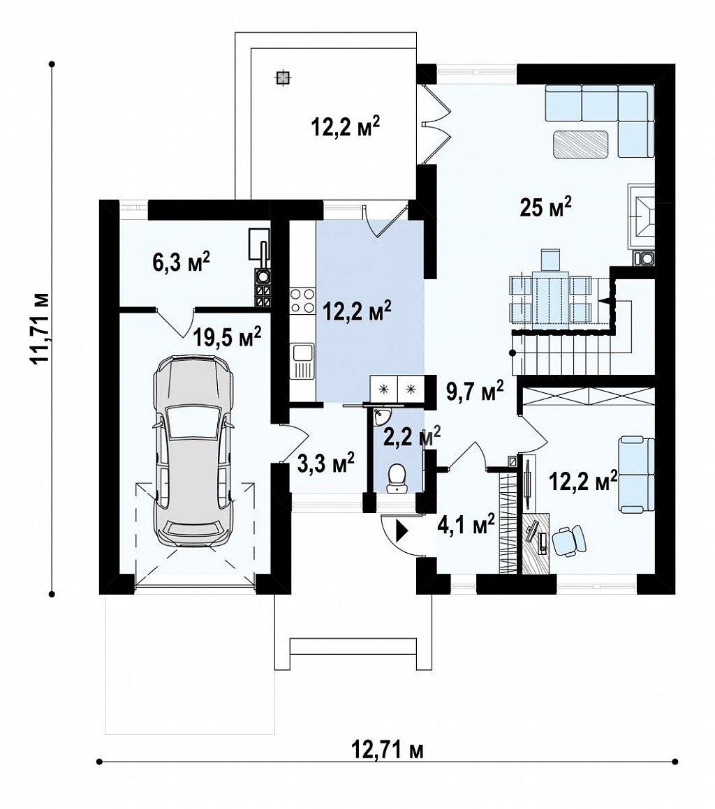 Первый этаж 95,4 м² дома Zx24