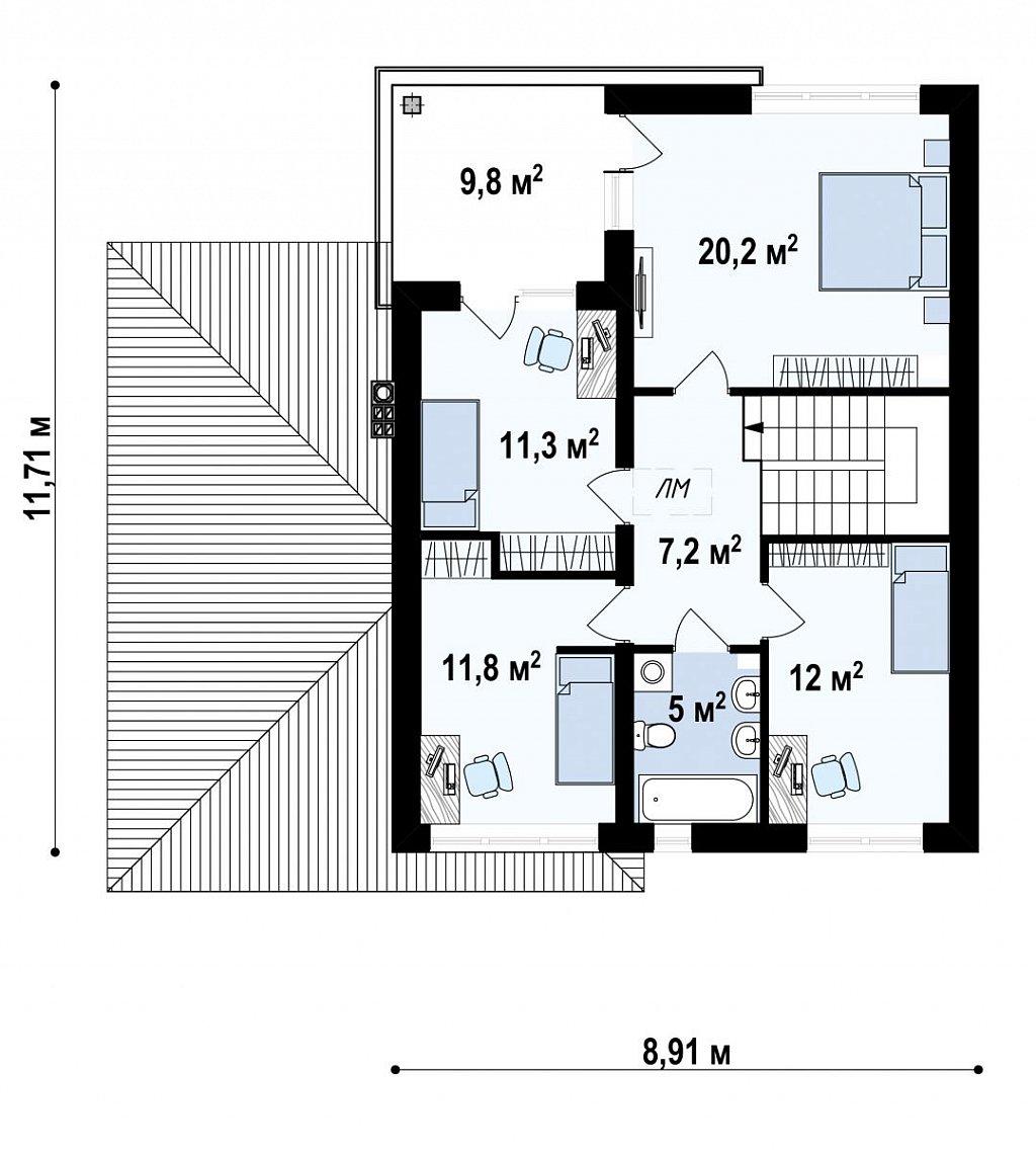 Второй этаж 68,8 м² дома Zx24